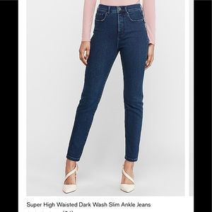 Express super high waisted dark wash jeans ankle